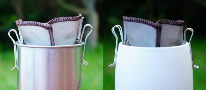 ポケットフィルターは垂直なマグカップの方が使いやすい