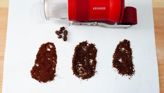 カフラーノのコーヒーミル(クラインダー)で挽いた豆 粗さ3種