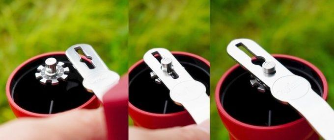 カフラーノのコーヒーミル(クラインダー) 挽きの粗さ調整