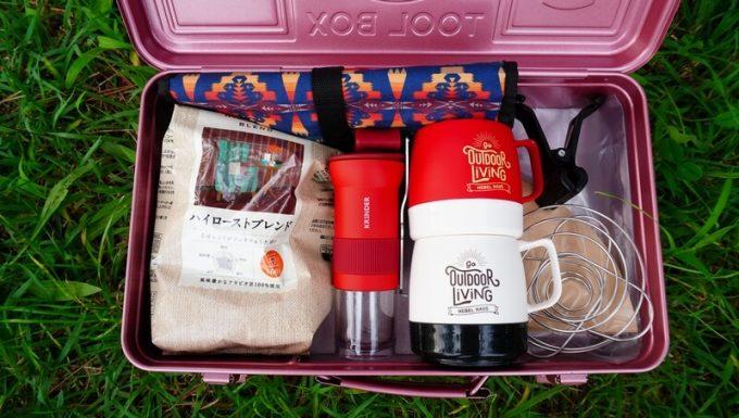 カフラーノのコーヒーミル(クラインダー)をコーヒー道具入れに入れる