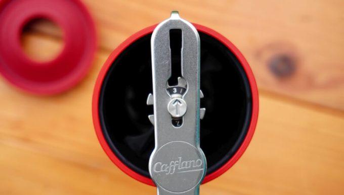カフラーノのコーヒーミル(クラインダー) 挽きの粗さ調整ダイヤル
