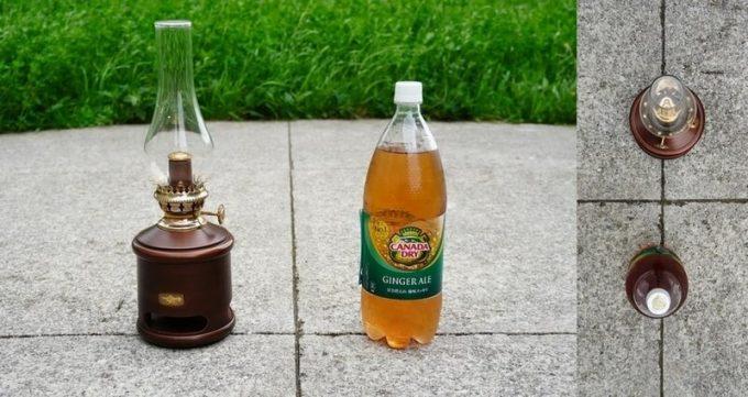 アラジン ランタンスピーカーと1.5Lペットボトルのサイズを比較