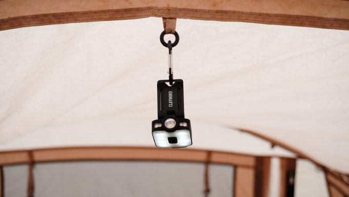 クレイモア キャップオン 40Bをテントに吊るす