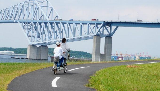 若洲公園でサイクリング ゲートブリッジ