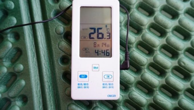 テント内の最低気温が26℃