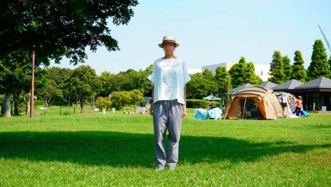 夏キャンプ女性服装撤収完了後着替えた服
