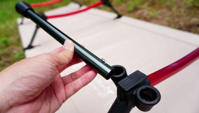 ネイチャーハイクの2WAYコットの組み立て 延長脚を取り付け