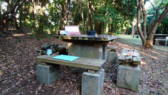 蚊の多い公園のテーブルとベンチ