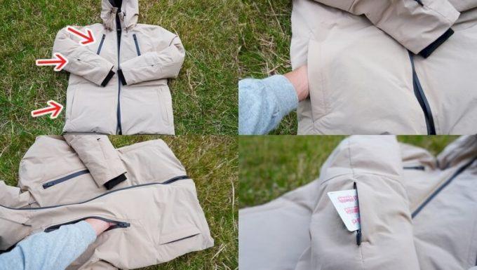 リロア ダウンジャケットの外側ポケット