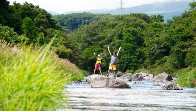 那須で川遊び