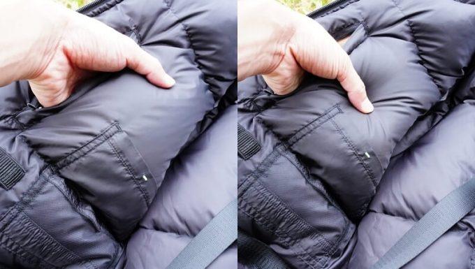 リロア ダウンジャケットのダウンのボリューム