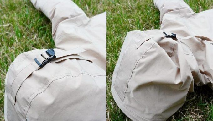 リロア ダウンジャケットのフード調整ベルト