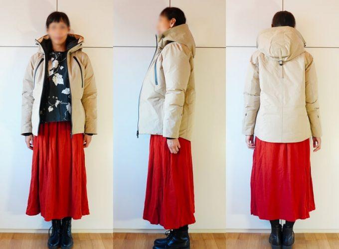 リロア ダウンジャケットのコーデ 女性 スカート 前開け
