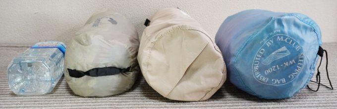 ネイチャーハイクの2WAYコットのサイズをテントや寝袋と比べる 横から