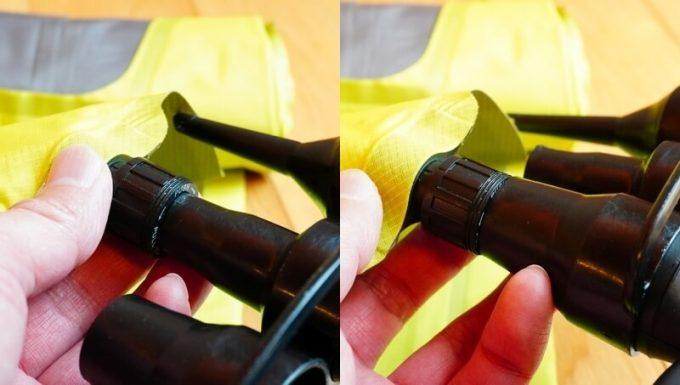 電動エアーポンプのノズルをイナーシャXフレームの適合