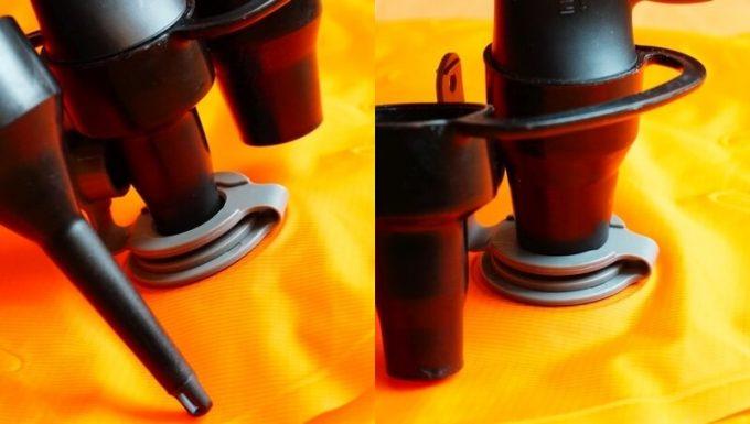 電動エアーポンプのノズルをネイチャーハイクのエアーマットの適合