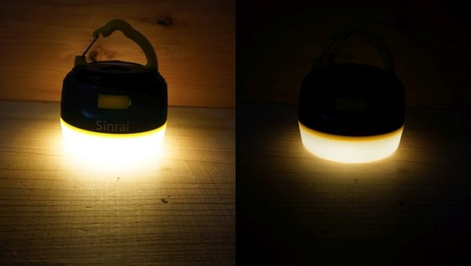 sinrai LEDランタンの明るさ 電球色