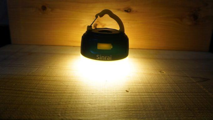 sinrai LEDランタンの明るさ 電球色 最大