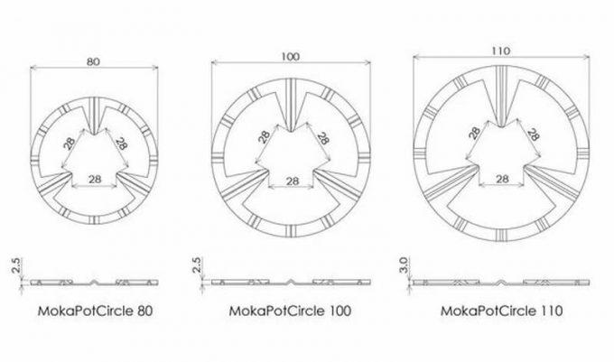 モカポットサークルには3種のサイズがある