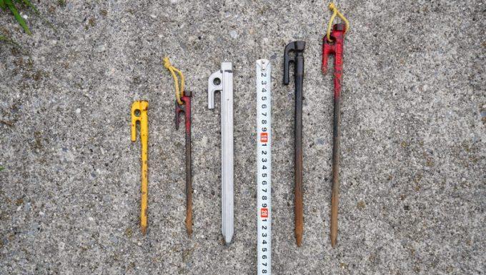 アルミ鋳造ペグと鋼製鋳造ペグの長さを比較