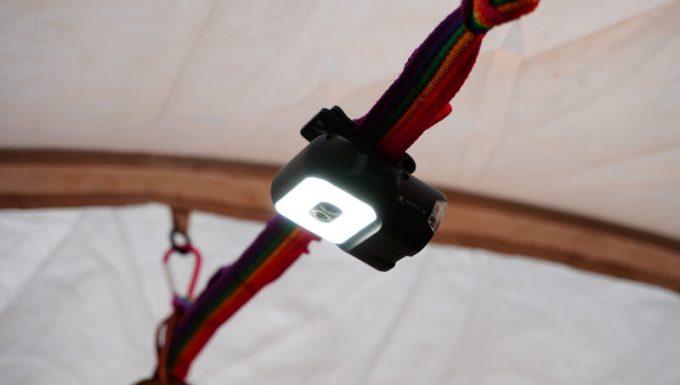 クレイモア キャップオン 120Hをテントに吊るす