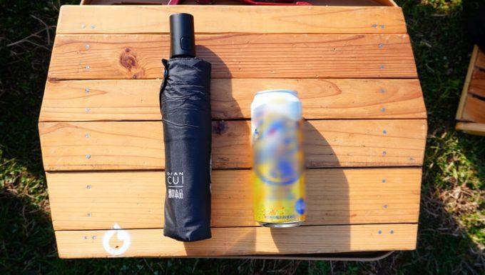 ワンタッチ折りたたみ傘(Nano Easy Fold-up)のサイズをし500ml缶と比較