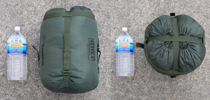 スナグパック ソフティーエリート5のサイズを2Lのペットボトルと比較
