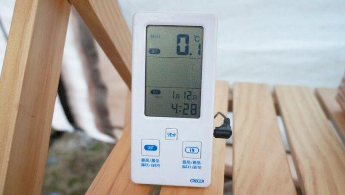 スナグパック ソフティーエリート5で真冬(1月)に寝た時の最低気温(0.1℃)