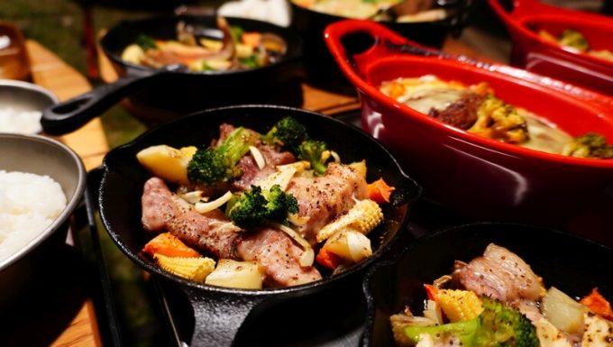 薪ストーブ BLISSで作った豚肉と野菜の炒めもの