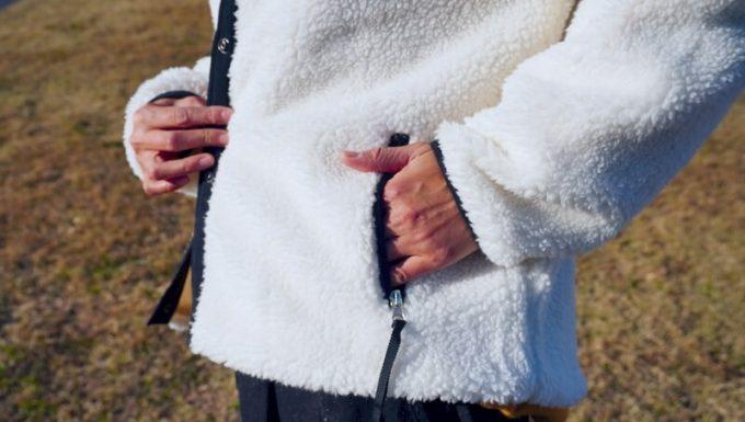 パイピングボアジャケットのポケット