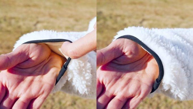 パイピングボアジャケットの袖口の伸縮性
