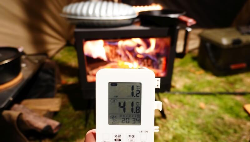 薪ストーブを使ったテント内の温度