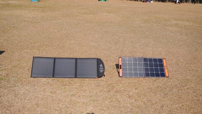 BigBlueソーラーパネル120WとSolarSaga100のサイズ比較