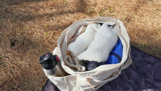 BLUE SINCEREトートバックに荷物が入った写真