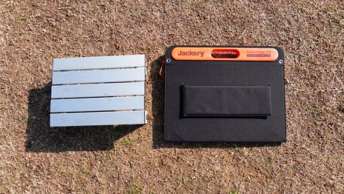 SolarSaga 60 Proの収納サイズをテーブルと比較