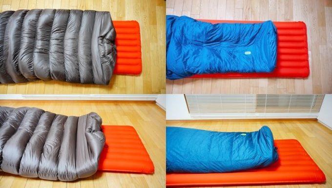 ナンガ(NANGA)の封筒寝袋とマミー型寝袋の動きやすさの比較