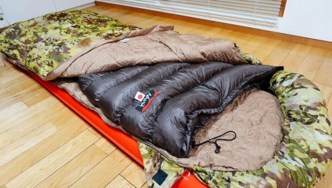 ナンガ(NANGA)の封筒寝袋を寝袋に入れて使う