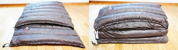 ナンガ(NANGA)の封筒寝袋のテーパード