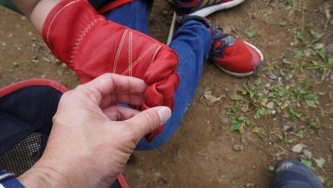 アウトドア手袋 Elmer Joy 子供がつけたサイズ感