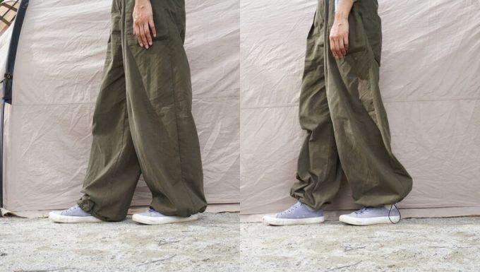 サニークラウズのウェーダーパンツを裾を絞る・絞らない比較