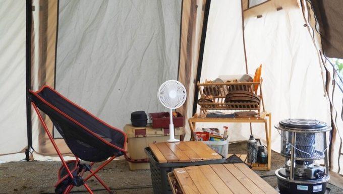 リスカイ扇風機をテーブルに設置