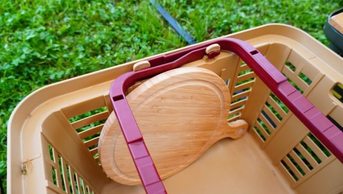 YOSHIKI 良木工房 竹製ピザボードの収納 バスケット縦