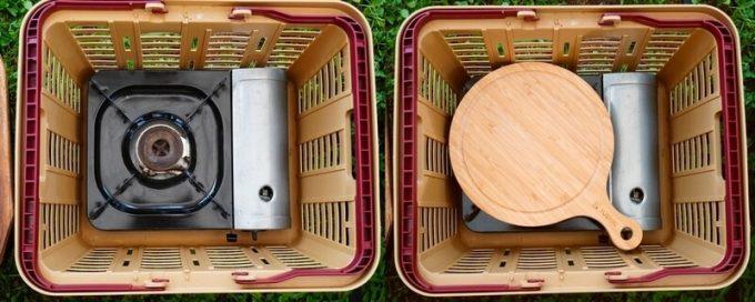YOSHIKI 良木工房 竹製ピザボードの収納 バスケット横