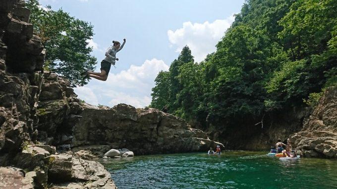 LuminarAIで写真加工する前 川へ飛び込み