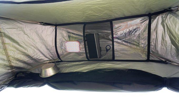 KAZUMI ブラックコットテント テント内に吊るせる小物入れ