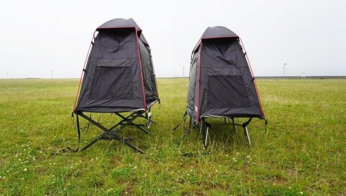 KAZUMI ワイドブラックコットと軽量コットにブラックコットテントを乗せる