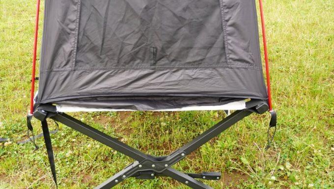 KAZUMI ワイドブラックコットにブラックコットテントを乗せた横幅
