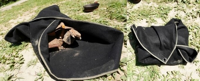 焚き火シート MATERIUM SHEETで薪を包む