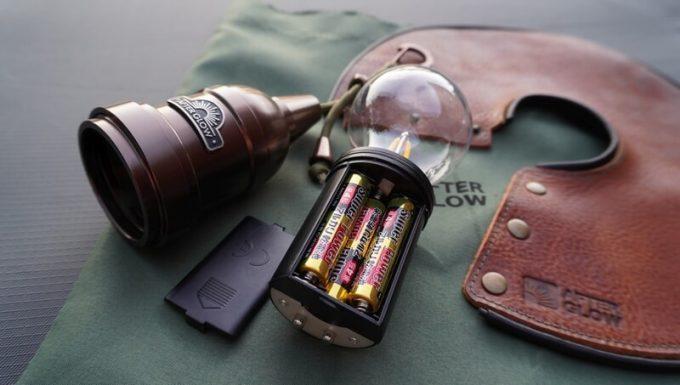 キャンプ用ペンダントライトAfterGlowは単4電池で動く