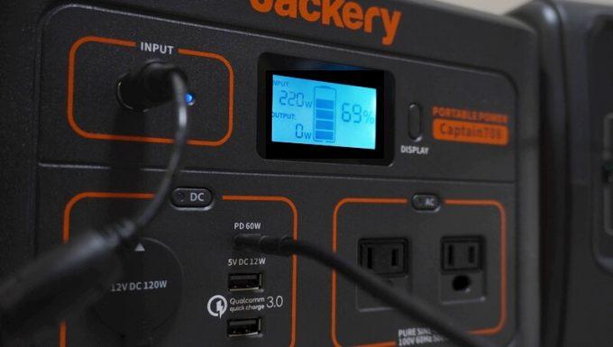 Jackeryポータブル電源708をACアダプターとUSB(PD60W)で充電 LCD表示
